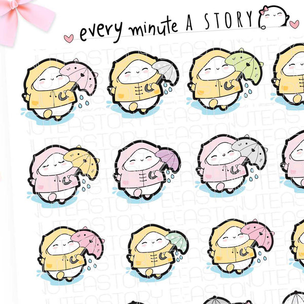 Beanie rainy day/play in the rain spring planner stickers