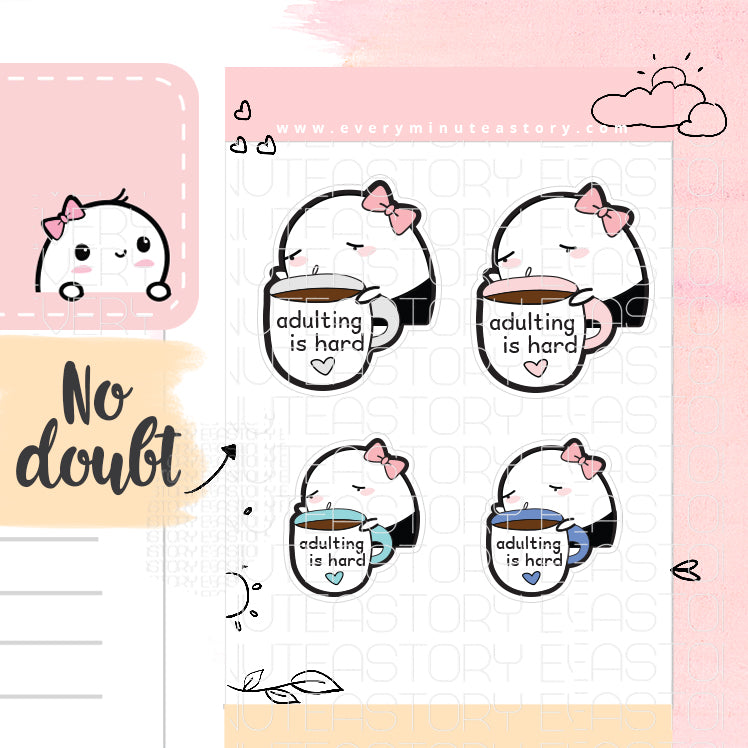 Adulting is hard Beanie planner stickers - Every Minute A Story