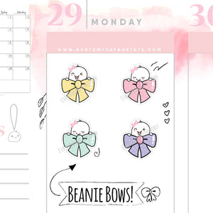 Beanie cute bow decorative planner stickers - Every Minute A Story