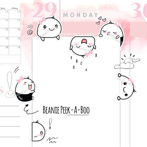 Beanie peekaboo decorative planner stickers - Every Minute A Story