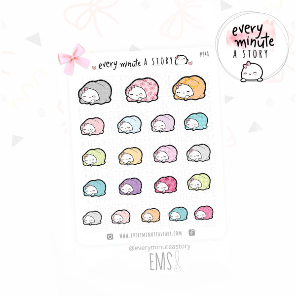 Wrapped up Beanie, patterned blanket planner stickers