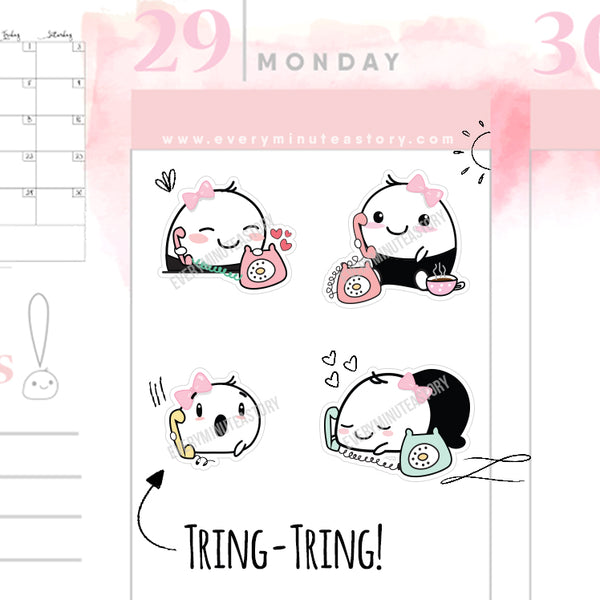 Beanie phone call reminder planner stickers - Every Minute A Story