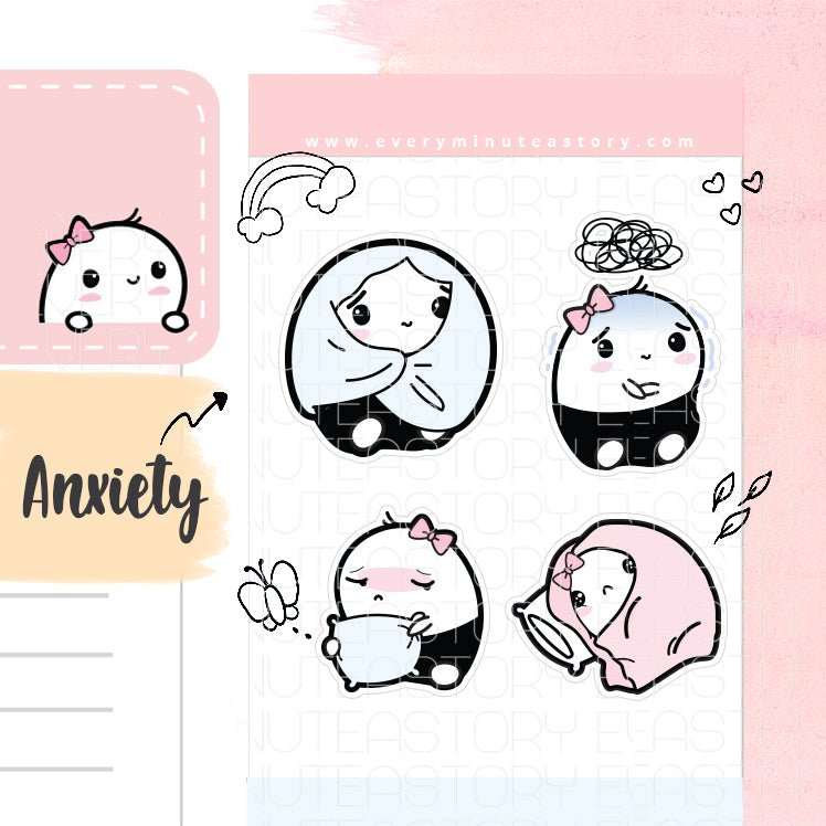 Beanie anxiety, depression planner stickers - Every Minute A Story