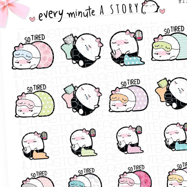 Revamped Beanie tired, lazy sleepy planner stickers