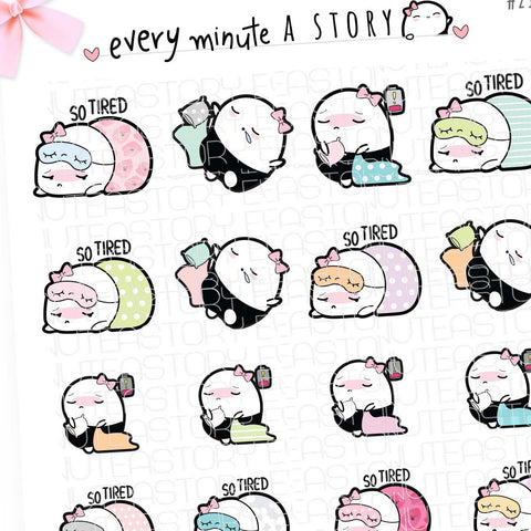 Revamped Beanie tired, lazy sleepy planner stickers- LOW STOCK!