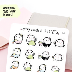 Gardening/Yard work Beanie planner stickers- LOW STOCK!