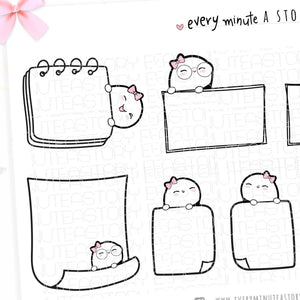 Beanie blank doodle boxes planner stickers