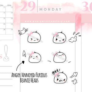 Angry/annoyed Beanie heads planner Stickers - Every Minute A Story