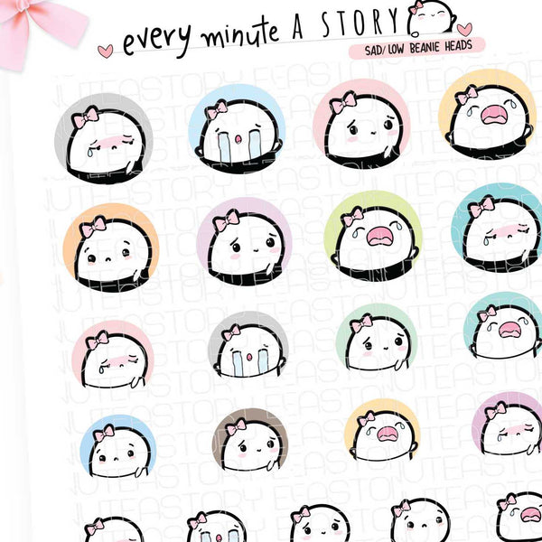 Sad/Low Beanie head planner stickers