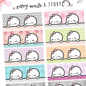 Soft pastel patterned Beanie Washi Strips planner stickers