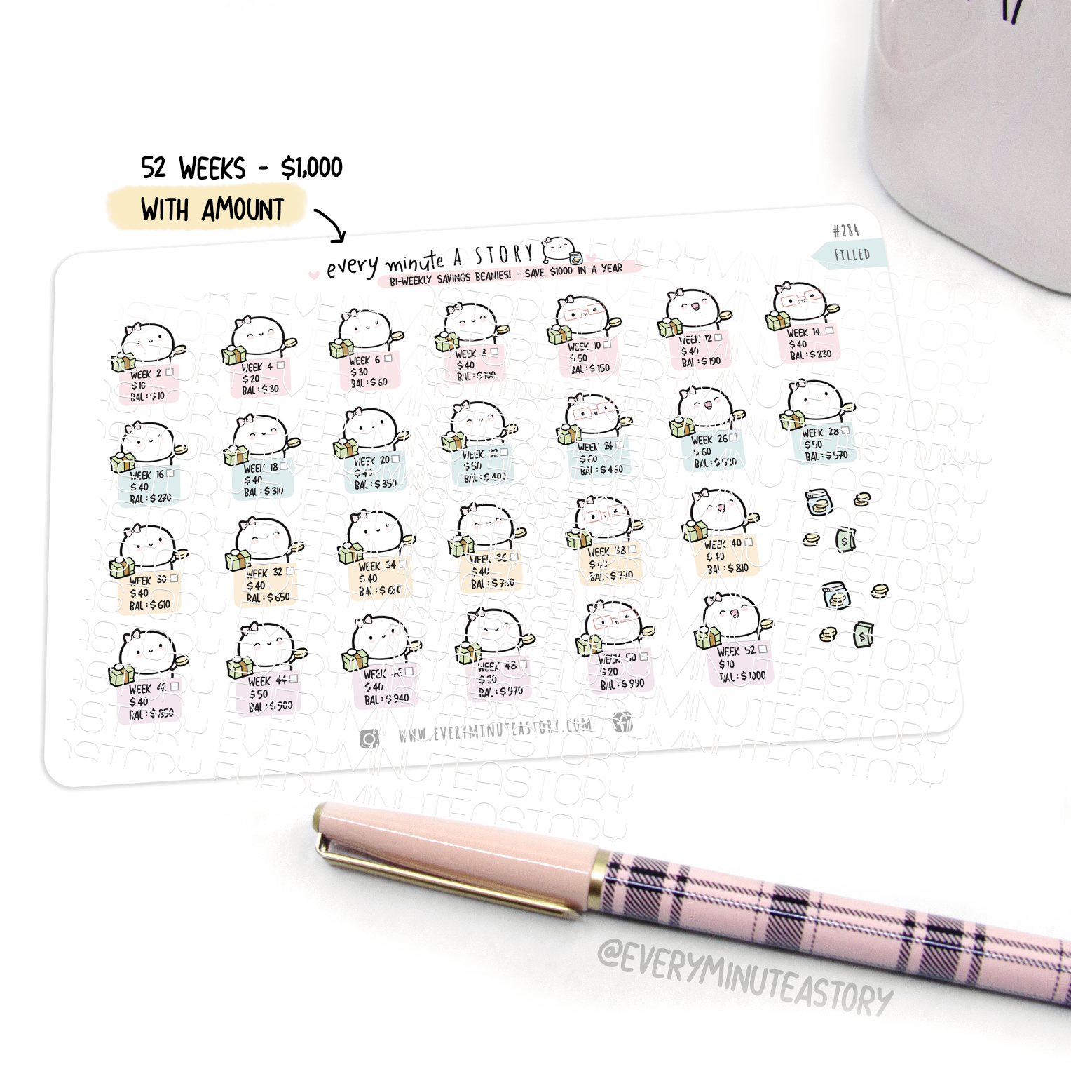 Yearly (bi-weekly) savings challenge 2020 planner stickers