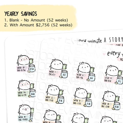 Yearly (weekly) savings challenge 2020 planner stickers