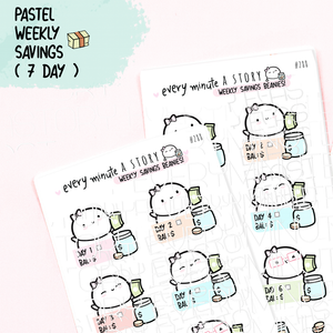 Weekly (7days) savings challenge planner stickers
