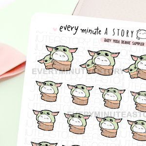 Baby Yoda Beanie stickers, Star wars