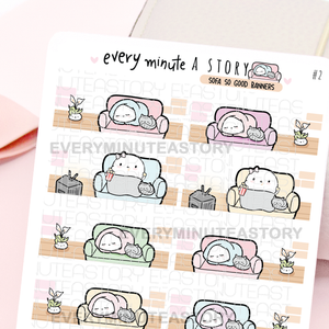 Couch Potato Beanie banner stickers