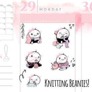 Beanie knitting planner Stickers - Every Minute A Story