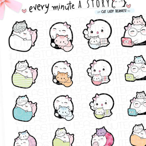 Cat lady Beanie, kitty planner stickers