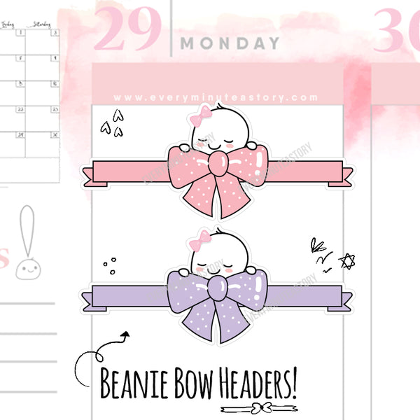 Beanie bow headers planner stickers - Every Minute A Story