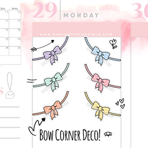 Bow decorative corners planner stickers - Every Minute A Story