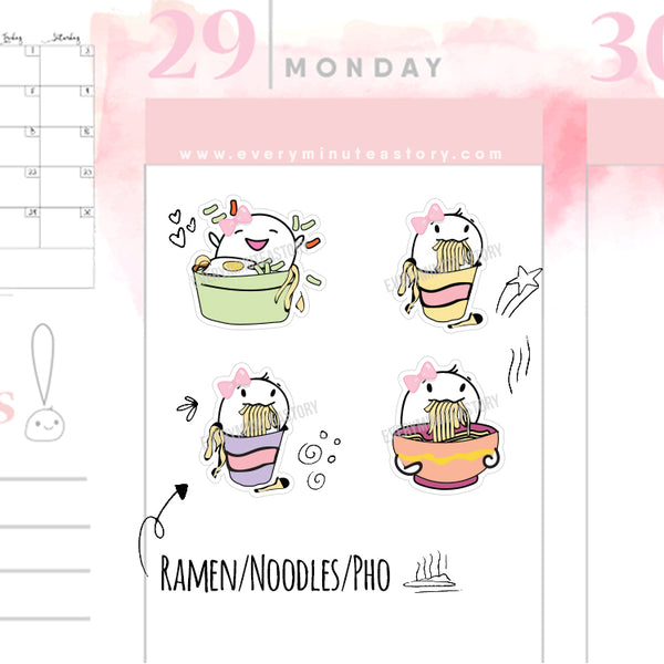 Beanie instant ramen noodles planner stickers - Every Minute A Story