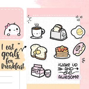 Cute Kawaii Breakfast planner stickers - Every Minute A Story