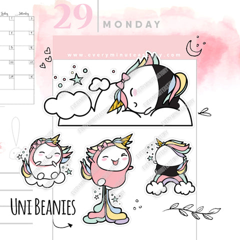 Revamped Beanie unicorn planner stickers - Every Minute A Story