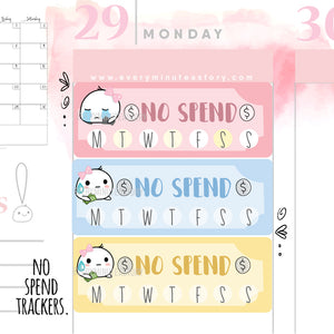 No spend weekly tracker planner stickers - Every Minute A Story
