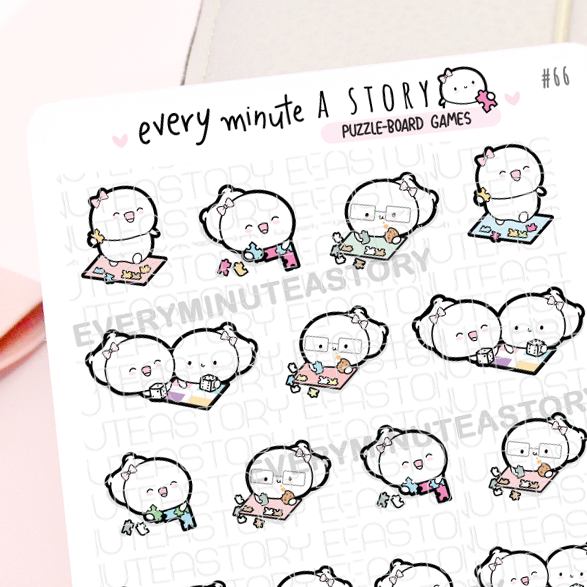 Puzzle/Board game Beanie planner stickers