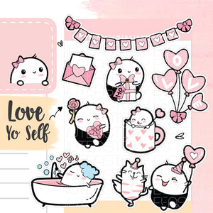 Cute Beanie love/pink planner stickers - Every Minute A Story