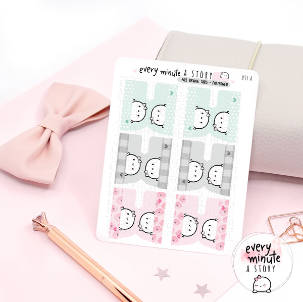 Beanie tabs planner stickers | Pastels and patterned