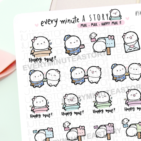 Happy mail, mailman, parcel delivery planner Stickers