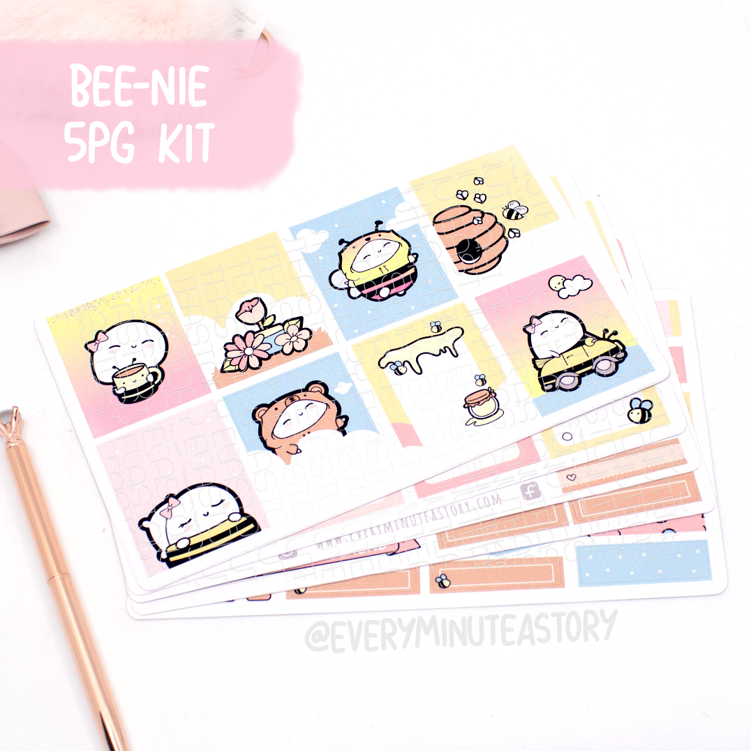 Bee-nie honey bee EC 5 Page kit, planner stickers-LOW STOCK!