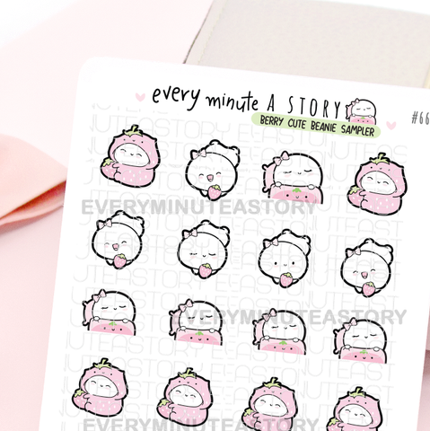 Strawberry Beanie stickers- LOW STOCK!
