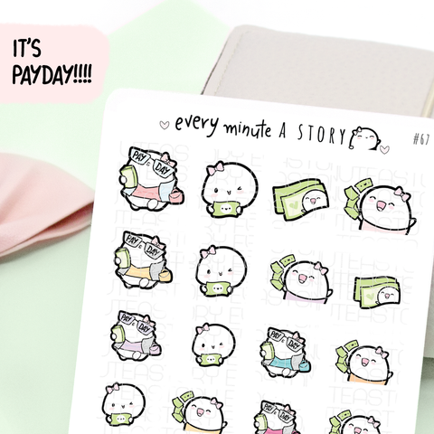 Payday Beanie planner stickers, pay day- LOW STOCK!