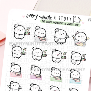 Cooking, meal prep, chef Beanie planner stickers