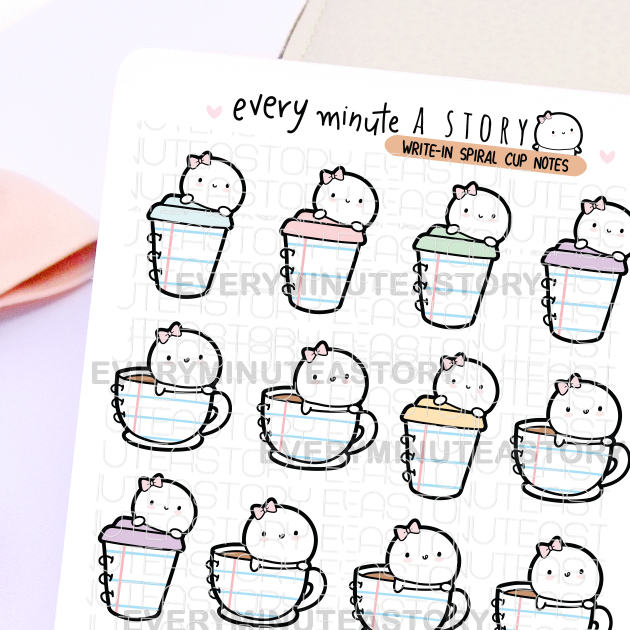 Write-in spiral cup notes stickers