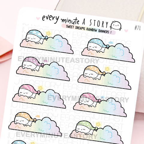 Sweet dreams rainbow banners, Beanie planner stickers