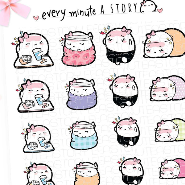 Headache, migraine, sick day Beanie planner stickers