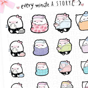 Sick Day, under the weather Beanie planner stickers
