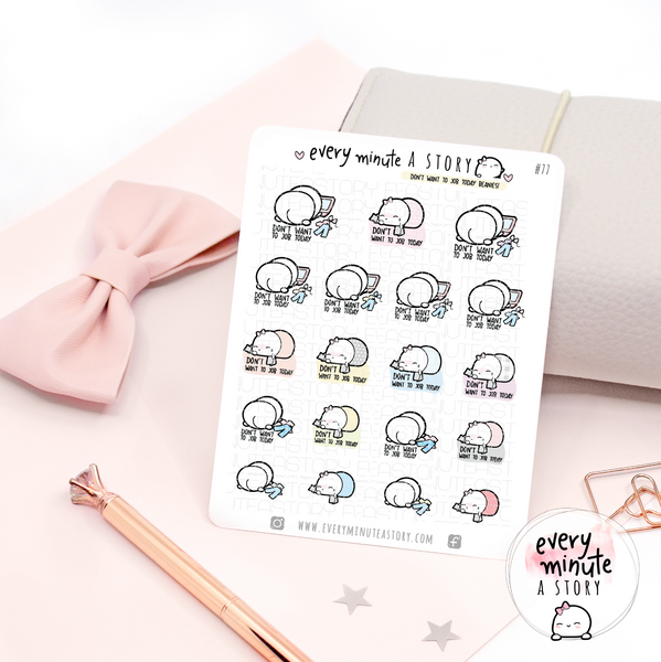 Don't want to job today, Beanie planner stickers