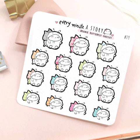 Beanie Butterfly onesie planner stickers- LOW STOCK!