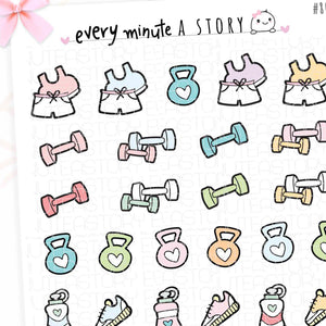 Workout fitness doodle planner stickers - Every Minute A Story