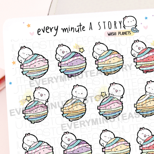 Beanie on washi planets, washi hoarder stickers