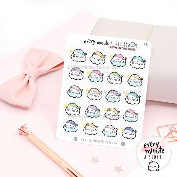 Sleeping on clouds, Beanie planner stickers