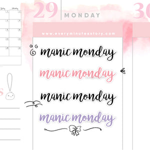 Manic Monday words planner stickers - Every Minute A Story