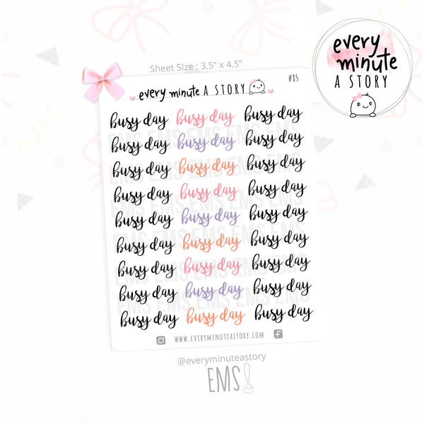 Busy Day words planner stickers - Every Minute A Story