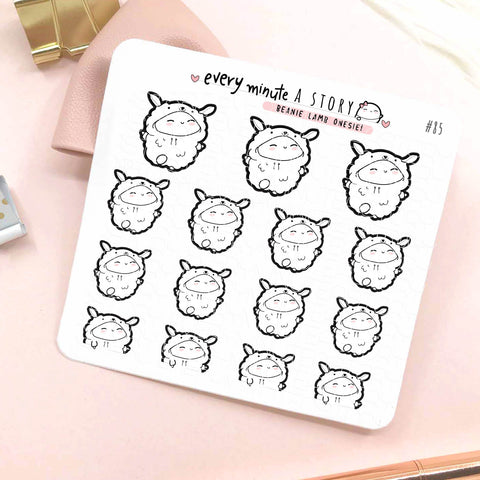 Beanie Lamb onesie spring/Easter planner stickers- LOW STOCK!