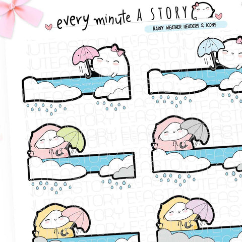 Beanie rainy day headers, Spring planner stickers