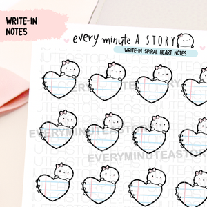 Write-in spiral heart notes stickers- LOW STOCK!