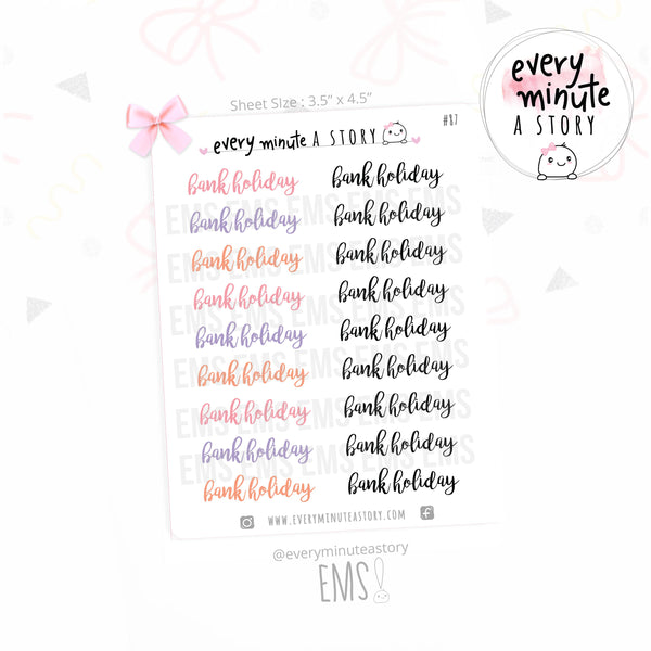 Bank Holiday word planner stickers - Every Minute A Story